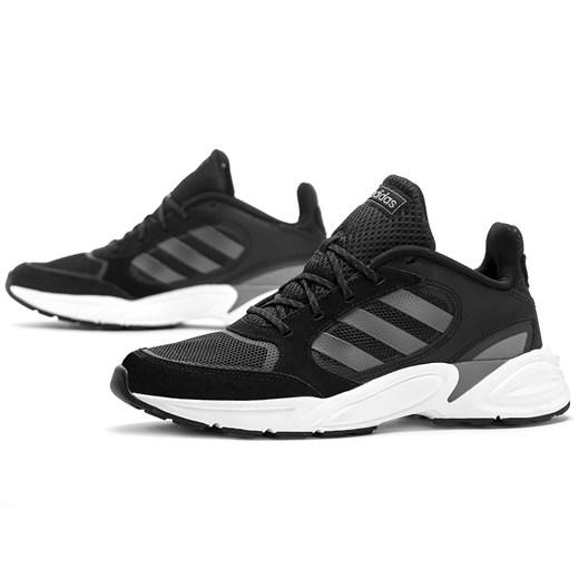 Buty sportowe damskie Adidas do biegania płaskie czarne skórzane sznurowane