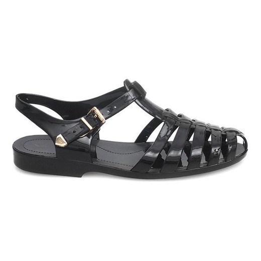 sandały czarne płaskie guma