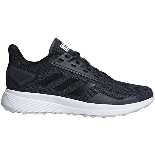 Buty sportowe damskie granatowe Adidas dla biegaczy gładkie sznurowane płaskie