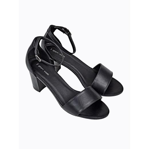 Czarne sandały damskie Gate z klamrą gładkie 9f9Yz