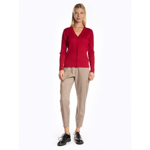 Czerwony sweter damski Gate z wiskozy na zimę z dekoltem w literę v bez wzorów Odzież Damska QY czerwony FJSK