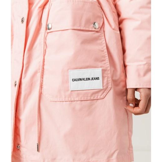 Calvin Klein kurtka damska z kapturem bez wzorów na jesień długa