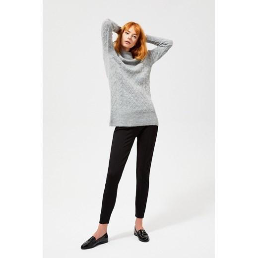 Sweter damski z wełny z okrągłym dekoltem Odzież Damska TH szary CQLT