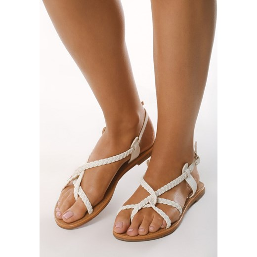 Born2be sandały damskie z klamrą płaskie bez obcasa bez