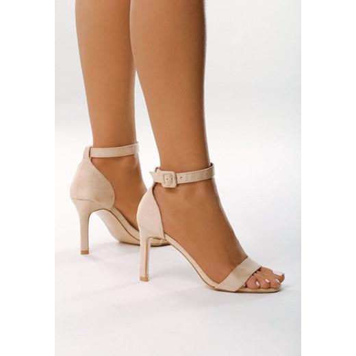 Sandały damskie Born2be beżowe bez wzorów eleganckie na wysokim obcasie z klamrą na szpilce