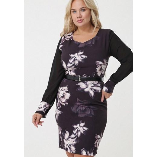 Sukienka Born2be dla puszystych mini z paskiem w Domodi