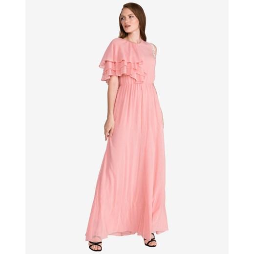 Sukienka Pinko z długimi rękawami różowa z okrągłym dekoltem prosta z aplikacją na zimę maxi Odzież Damska VZ różowy OJJG