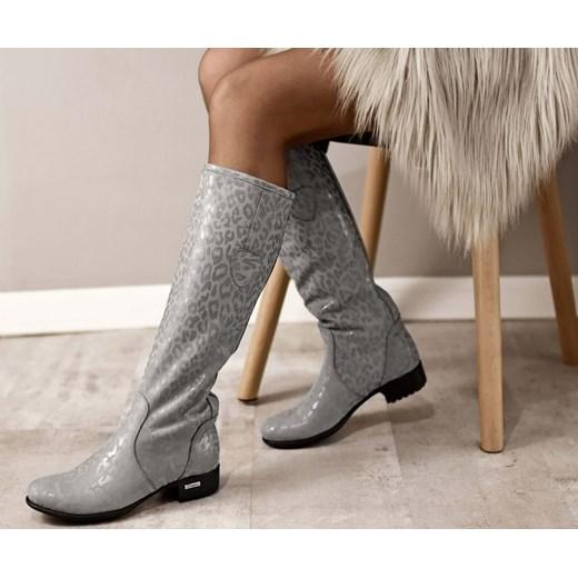 Kozaki damskie brązowe Zapato na obcasie z cholewką przed kolano casualowe skórzane na zamek