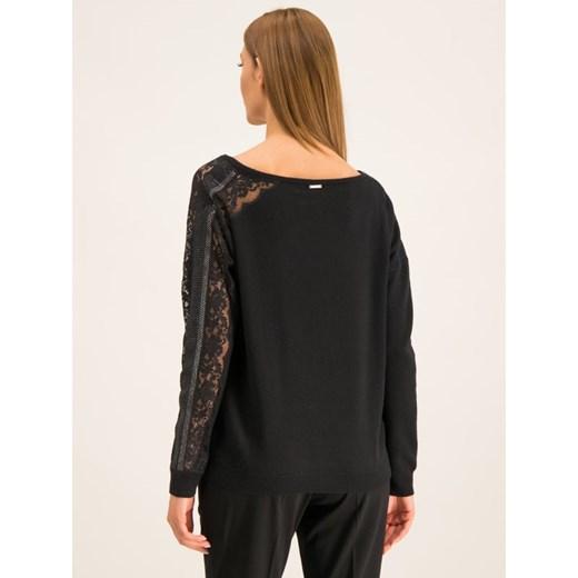 Sweter damski Liu jo z dekoltem w literę v Odzież Damska LN czarny ZVPF