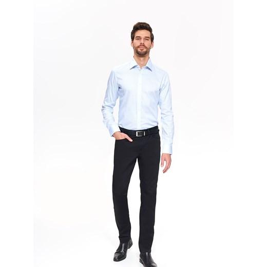 Koszula męska Top Secret z tkaniny biała z długim rękawem w  QQN2M