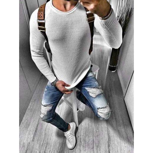 Sweter męski biały w Domodi