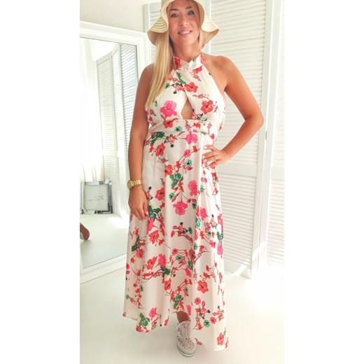 Sukienka maxi w kwiaty casual Odzież Damska OY wielokolorowy KTSU