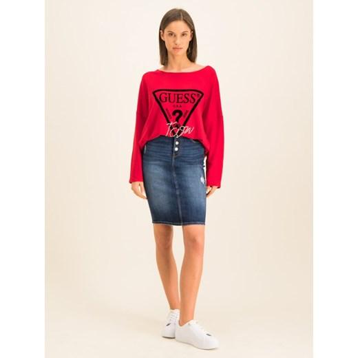 Sweter damski Guess w nadruki z okrągłym dekoltem casual Odzież Damska WT czerwony SSAR
