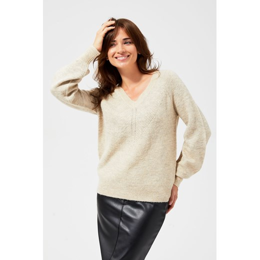 Sweter damski bez wzorów Odzież Damska YU beżowy YJPT
