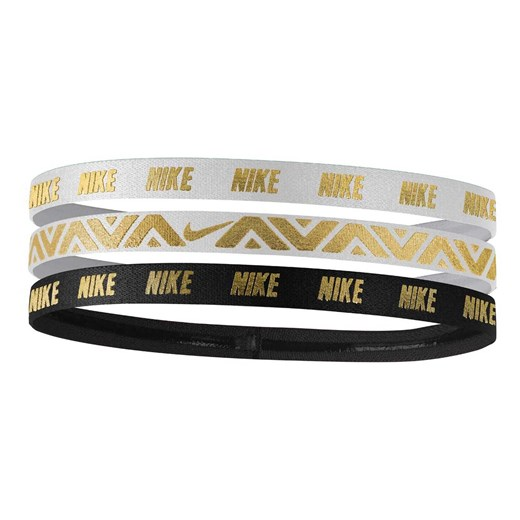 Opaski METALLIC HAIRBANDS 3 PACK N.JN.G8.912.OS NIKE ACCESSORIES, Rozmiar - UNISEX, Płeć - UNISEX, Kolor - WHITE/WHITE/BLACK
