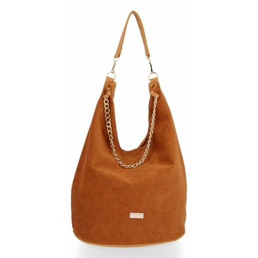 Shopper bag Conci duża bez dodatków z zamszu na ramię w Domodi