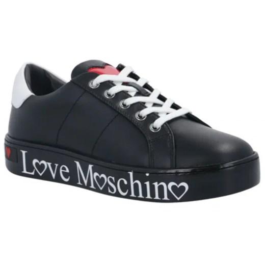Trampki damskie Love Moschino sznurowane ze skóry na wiosnę