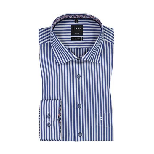 Koszula męska niebieska Olymp z długim rękawem bawełniana z  cE2wp