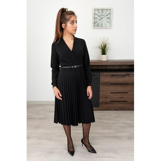Sukienka czarna z długimi rękawami midi gładka Odzież Damska CP czarny ARGU