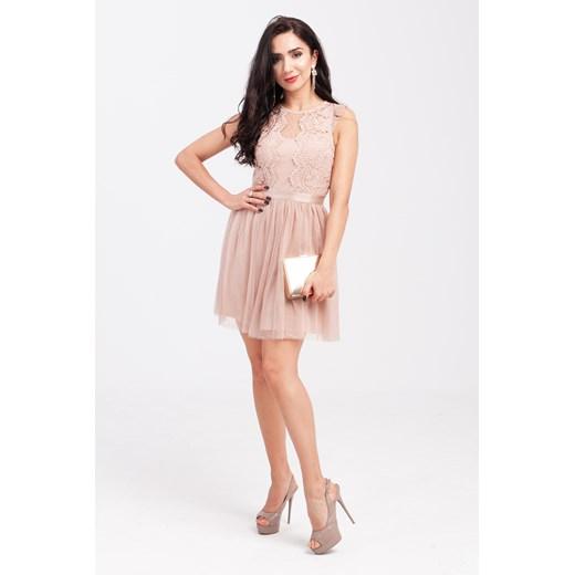 Sukienka różowa mini bez rękawów z okrągłym dekoltem rozkloszowana Odzież Damska IR różowy TFMA