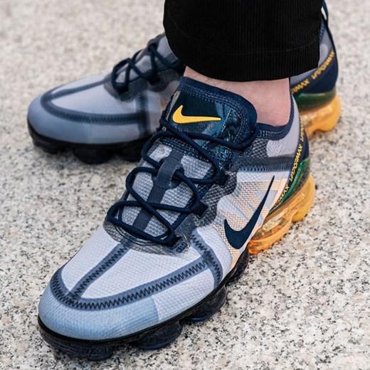 Buty sportowe męskie Nike vapormax niebieskie sznurowane w