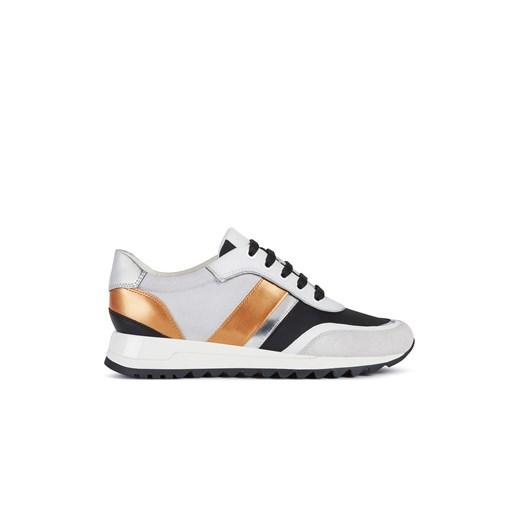 Białe buty sportowe damskie Geox sznurowane zamszowe na