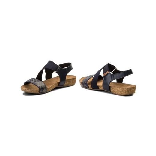 Granatowe sandały damskie Lasocki letnie bez obcasa