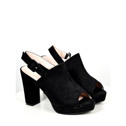 Sandały damskie czarne z klamrą na wysokim obcasie bez
