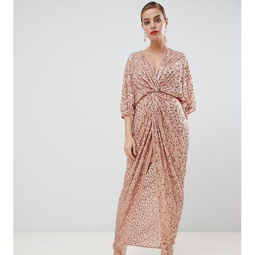 ASOS DESIGN Petite – Sukienka maxi o kroju kimono z ozdobnym węzłem przodu i cekinami na całej powierzchni-Różowy Poland Odzież Damska DB różowy FTII