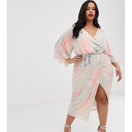 ASOS DESIGN –Curv –Sukienka midi w stylu kimono z naszywanymi ozdobnymi perłami i cekinami-Wielokolorowy Poland Odzież Damska BO wielokolorowy MDOW