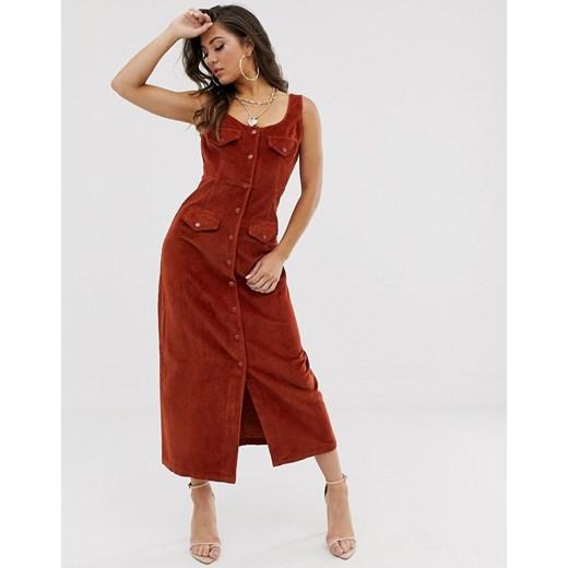 Sukienka Asos casual maxi na ramiączkach z dekoltem w literę v Odzież Damska PH czerwony YUEL