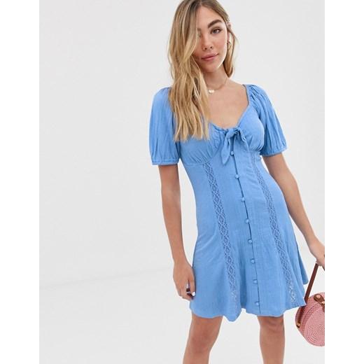 Sukienka Asos z krótkimi rękawami Odzież Damska DN niebieski ZTFV