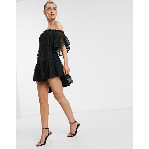 Sukienka Significant Other z krótkimi rękawami luźna z dekoltem typu hiszpanka Odzież Damska JW czarny WNHB