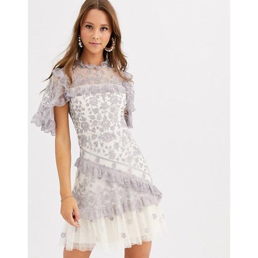 Sukienka Needle & Thread z krótkim rękawem elegancka mini Odzież Damska FX szary VMGX