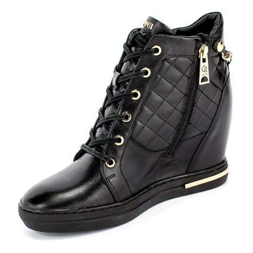 Buty sportowe damskie czarne Carinii sneakersy skórzane bez wzorów srpcG