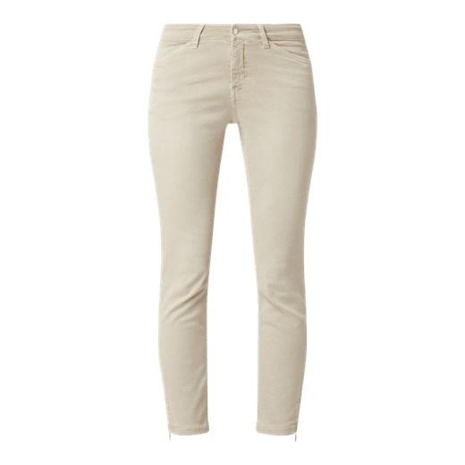 Oliwkowe spodnie damskie MAC z czarnymi lampasami | sklep