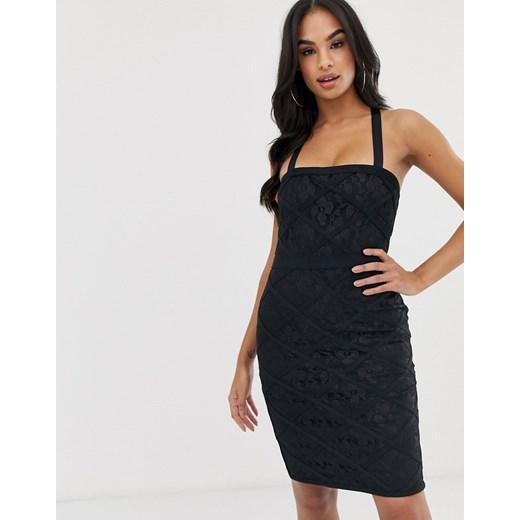Sukienka Lipsy dopasowana na ramiączkach mini z dekoltem karo Odzież Damska OW czarny GTAE