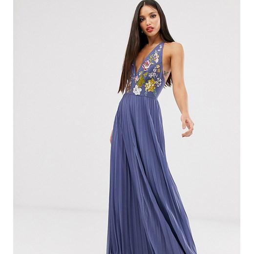 Sukienka Asos z haftem z odkrytymi ramionami Odzież Damska PC niebieski QTTA
