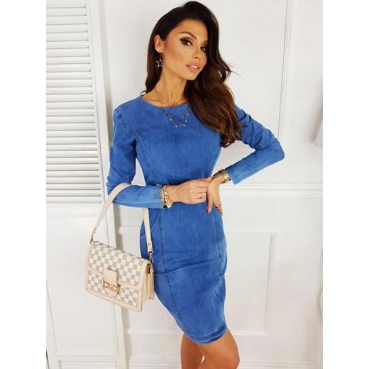 Sukienka jeansowa: mini, z długim rękawem, na zamek | sklep