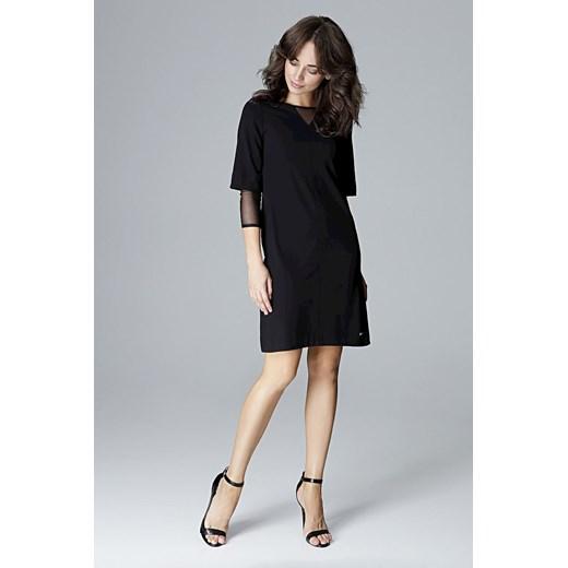 Sukienka czarna mini z długim rękawem hcprP