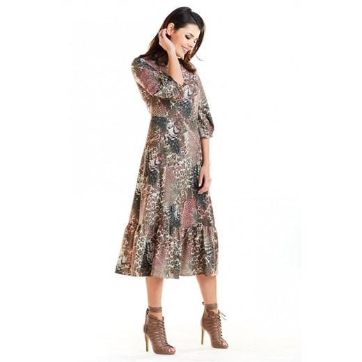 Sukienka Awama z długim rękawem na spacer midi Pcs0s