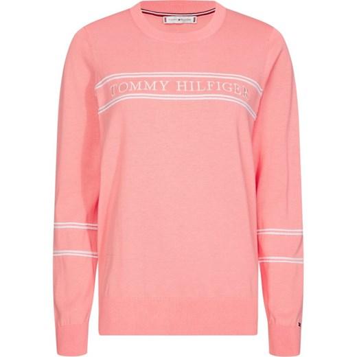 Sweter damski Tommy Hilfiger różowy z okrągłym dekoltem Odzież Damska DV różowy PKBW