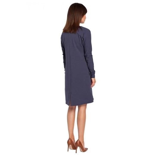 Sukienka Be biznesowa mini z okrągłym dekoltem Odzież Damska RB niebieski IODE