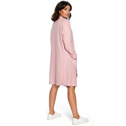 Sukienka Be asymetryczna z dzianiny midi z długim rękawem na wiosnę Odzież Damska BT różowy PNVB