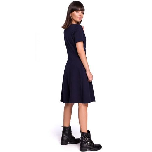 Sukienka Be z okrągłym dekoltem Odzież Damska UN czarny BJHJ