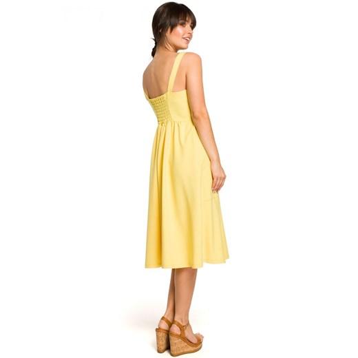 Sukienka Be z dekoltem w serek luźna Odzież Damska XG żółty OHJU