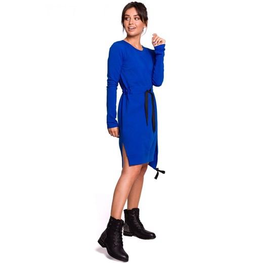 Sukienka Be asymetryczna dzianinowa Odzież Damska DG niebieski INTI