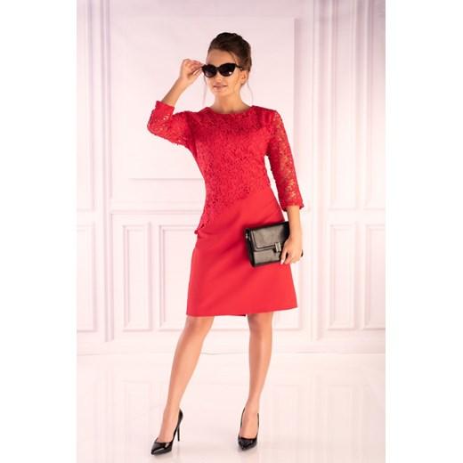 Sukienka Merribel elegancka na randkę trapezowa z długim rękawem mini Odzież Damska IN czerwony DSFF