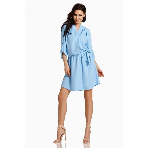Sukienka niebieska Lemoniade wyszczuplająca mini z długim rękawem z elastanu Odzież Damska HU niebieski DCDB