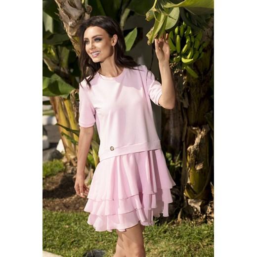 Lemoniade sukienka na urodziny z elastanu Odzież Damska QE różowy EUWG